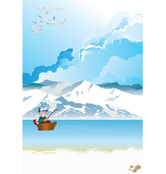 Arctic landscape with fisherman in boat vector
