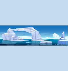 arctic landscape with melting iceberg and glaciers vector image