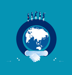 arm shaking hand surrounding the globe concept vector image