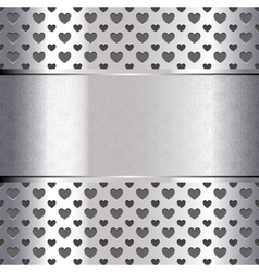 Background perforated shape heart metallic texture vector