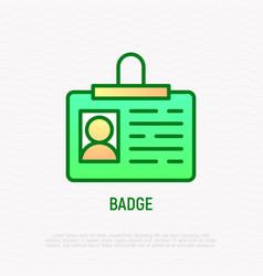 badge thin line icon identity card vector image