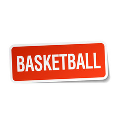 Basketball red square sticker isolated on white vector