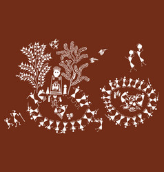 beautiful warli painting in form with dancing vector image