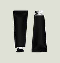 Black aluminum tubes for packaging vector image