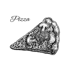 Black and white hand drawn pizza slice vector image