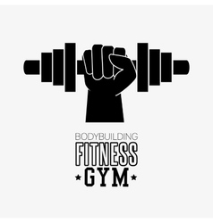 Bodybuilding fitness gym hand hold barbell vector