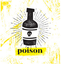 Bottle with poison and skull on it grunge vector