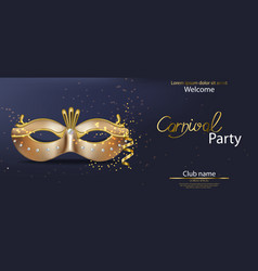 carnival golden mask realistic stylish vector image
