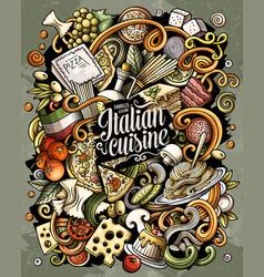Cartoon doodles italian food funny vector