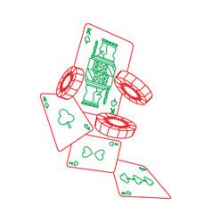 Casino falling cards and chips gambling symbol vector