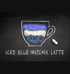 Chalk drawn sketch iced blue matcha vector
