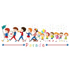 Children and band in parade vector