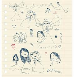 Childrens sketch on sheet for your design vector image
