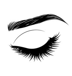 Closed eye with long eyelashes and brows vector