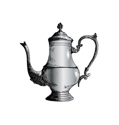 coffeepot hand drawn sketch vector image