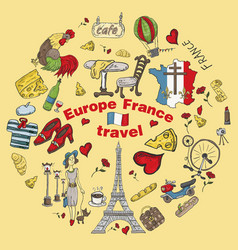 Color travel 6 to europe france symbols and vector