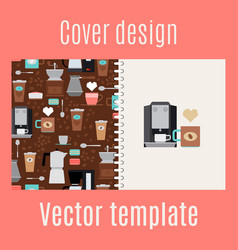 Cover design with coffee maker pattern vector