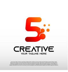 Creative logo with initial number five 5 vector