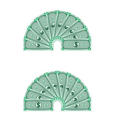 Dollars laid out in a semicircle money vector