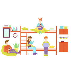 dormitory room with man and three woman sharing vector image