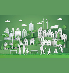 Eco and world environment day with happy vector