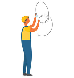 Electrician man installation electric bulb vector