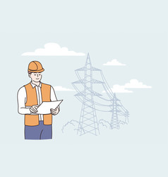 engineer construction during work concept vector image