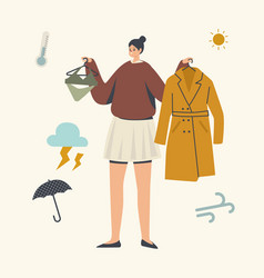 Female character making choice for clothes to walk vector