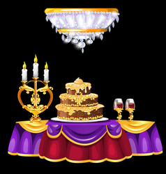 Festive table with with a luxurious cake glasses vector
