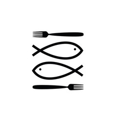 fish icon line vector image