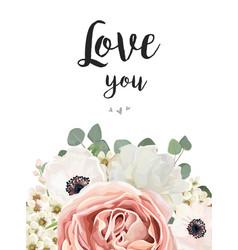 Floral design card white rose flower pink vector
