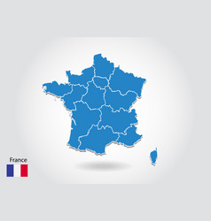 france map design with 3d style blue france map vector image