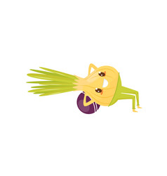 funny onion exercising with ball sportive vector image