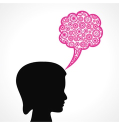 Gears make a speech bubble with female face vector