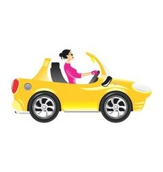 Girl-driving-car vector