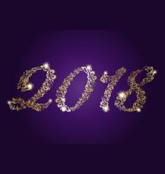 golden numbers 2018 happy new year vector image