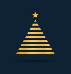 golden polygon tree xmas minimalistic design you vector image