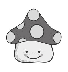grayscale kawaii happy fangus with eyes and mouth vector image