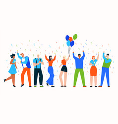 group celebrating people at holiday party scene vector image