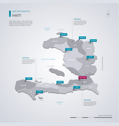 Haiti map with infographic elements pointer marks vector