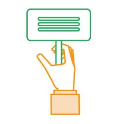 hand with protest banner isolated icon vector image