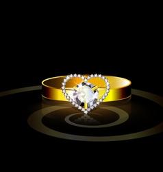 Heart ring vector