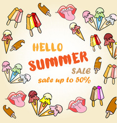 hello summer sale poster with ice cream vector image