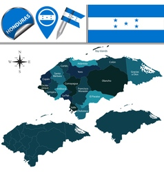 Honduras map with named divisions vector