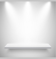 Illuminated realistic wall shelf empty store rack vector