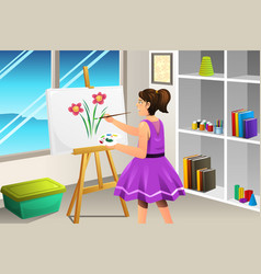 Kid painting on a canvas vector
