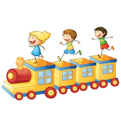 Kids on train vector