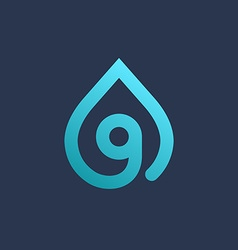 Letter G number 9 water drop logo icon design vector