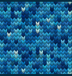 light and dark blue knit seamless pattern eps 10 vector image