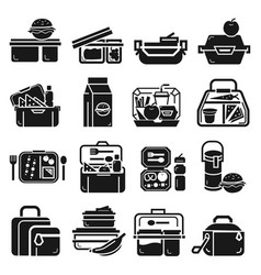 Lunchbox icon set simple style vector
